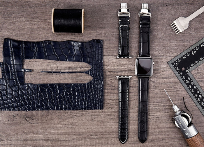 Alligator Leather Band for Apple Watch - Black