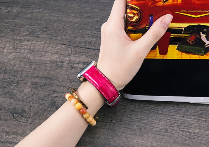 Alligator Leather Band for Apple Watch - Pink