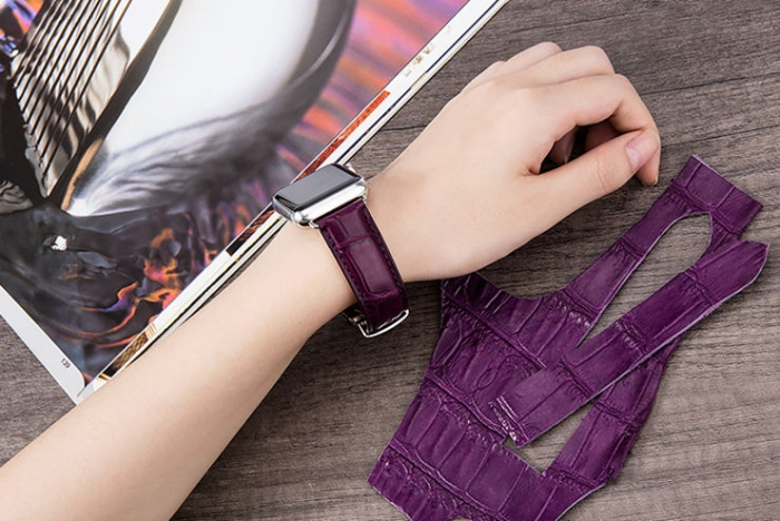 Alligator Leather Band for Apple Watch - Purple