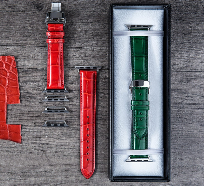 Alligator Leather Band for Apple Watch - Red, Green