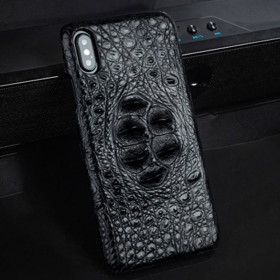 Crocodile & Alligator Leather Snap-on Case for iPhone - Black