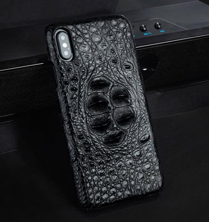 Crocodile & Alligator Leather Snap-on Case for iPhone - Black
