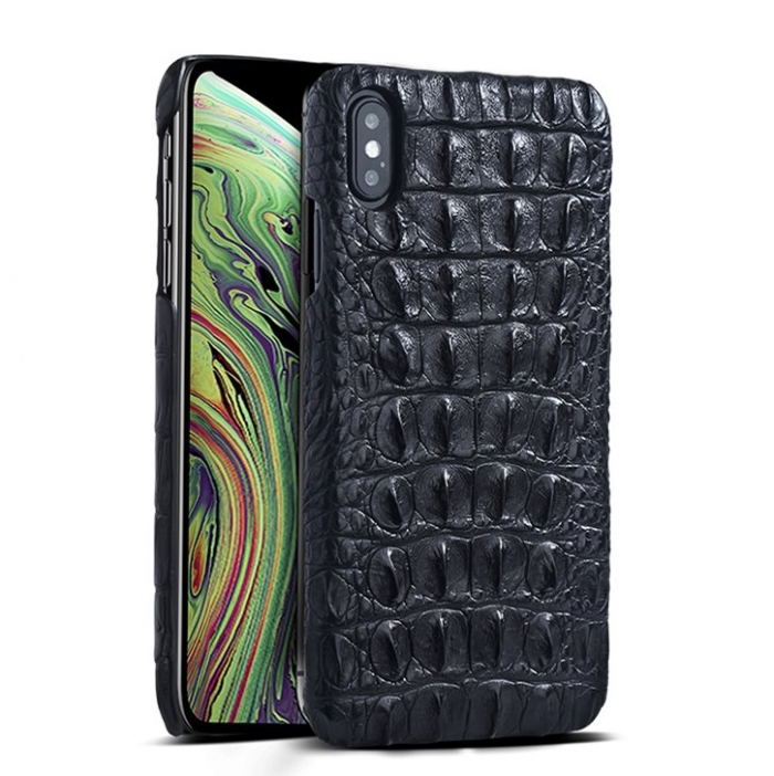 Crocodile & Alligator Leather Snap-on Case for iPhone Xs, Xs Max - Black - Back Skin