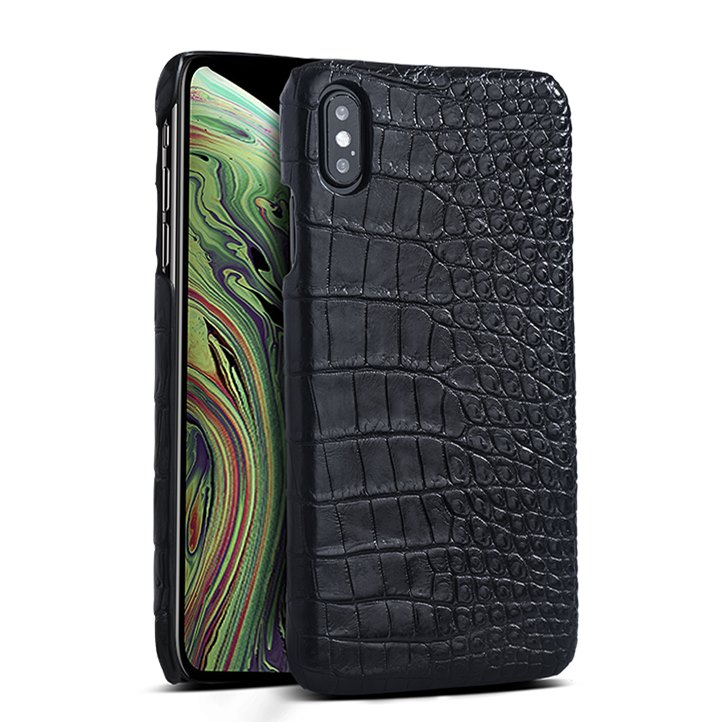 Crocodile & Alligator Leather Snap-on Case for iPhone Xs, Xs Max - Black - Belly Skin