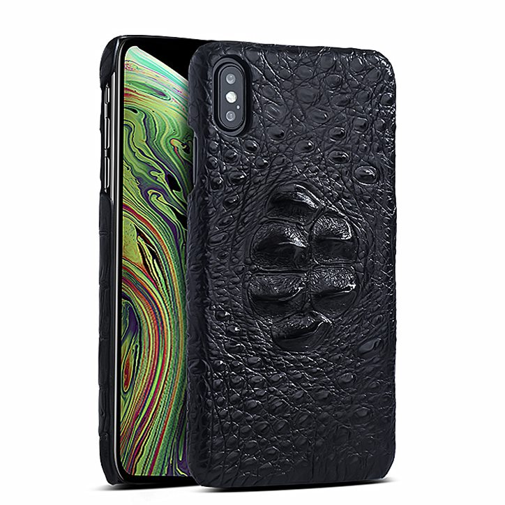 Crocodile & Alligator Leather Snap-on Case for iPhone Xs, Xs Max - Black - Head Skin