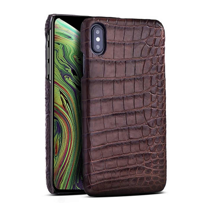 Crocodile & Alligator Leather Snap-on Case for iPhone Xs, Xs Max - Brown - Belly Skin