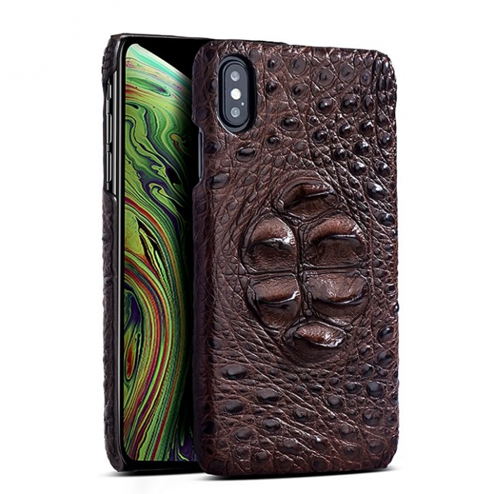 Crocodile & Alligator Leather Snap-on Case for iPhone Xs, Xs Max - Brown - Head Skin