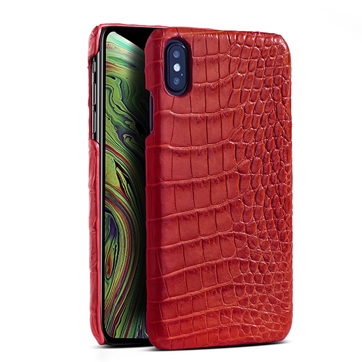 Crocodile & Alligator Leather Snap-on Case for iPhone Xs, Xs Max - Red - Belly Skin