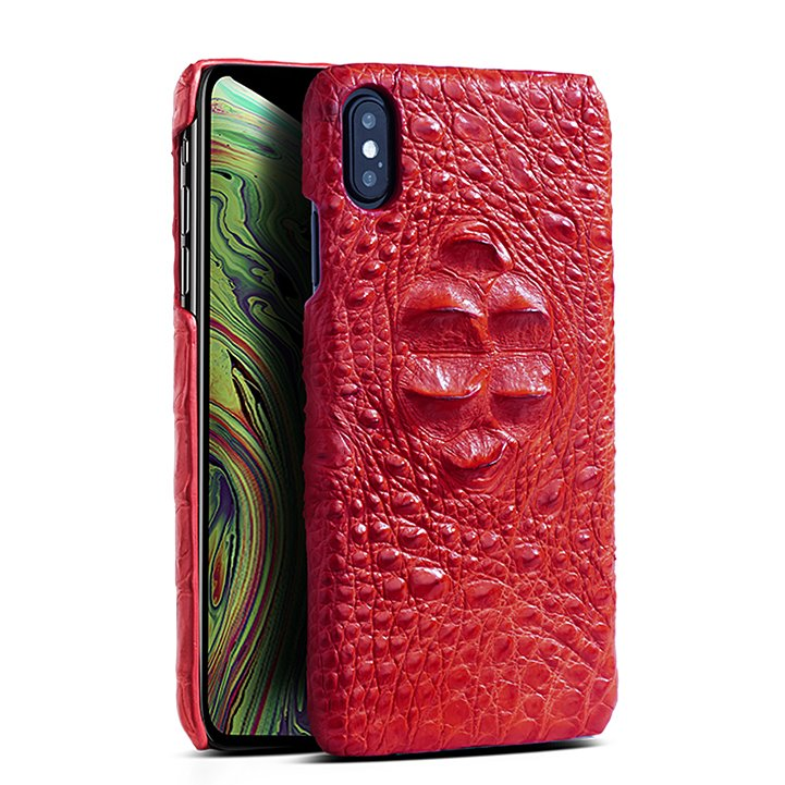 Crocodile & Alligator Leather Snap-on Cases for iPhone Xs, Xs Max - Red - Head Skin