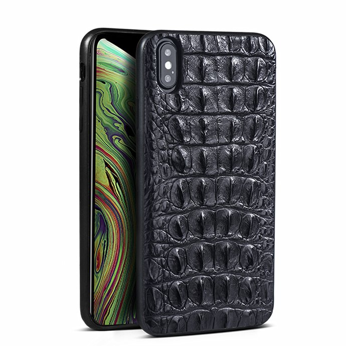 Crocodile & Alligator iPhone Xs, Xs Max Cases with Full Soft TPU Edges - Black - Back Skin