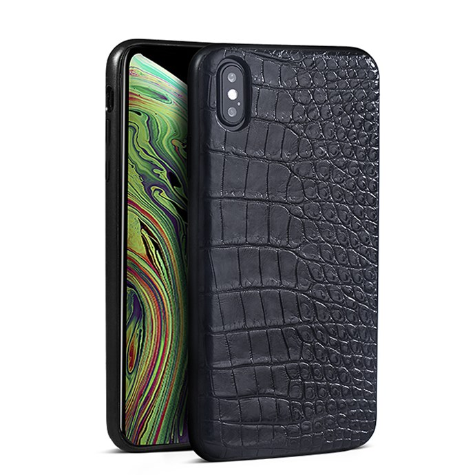 Crocodile & Alligator iPhone Xs, Xs Max Cases with Full Soft TPU Edges - Black - Belly Skin