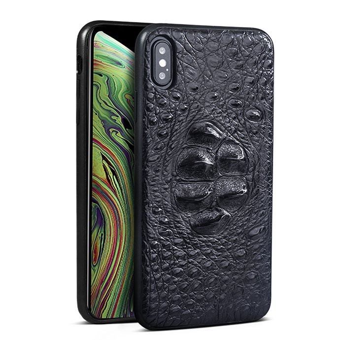 Crocodile & Alligator iPhone Xs, Xs Max Cases with Full Soft TPU Edges - Black - Head Skin