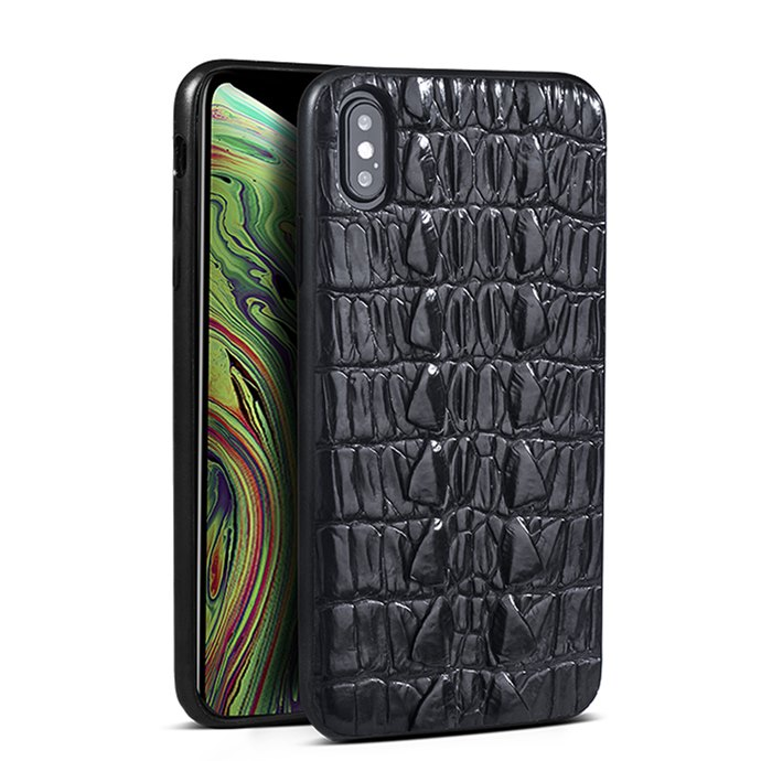 Crocodile & Alligator iPhone Xs, Xs Max Cases with Full Soft TPU Edges - Black - Tail Skin