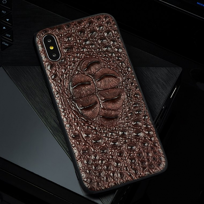 Crocodile & Alligator iPhone Cases with Full Soft TPU Edges - Brown