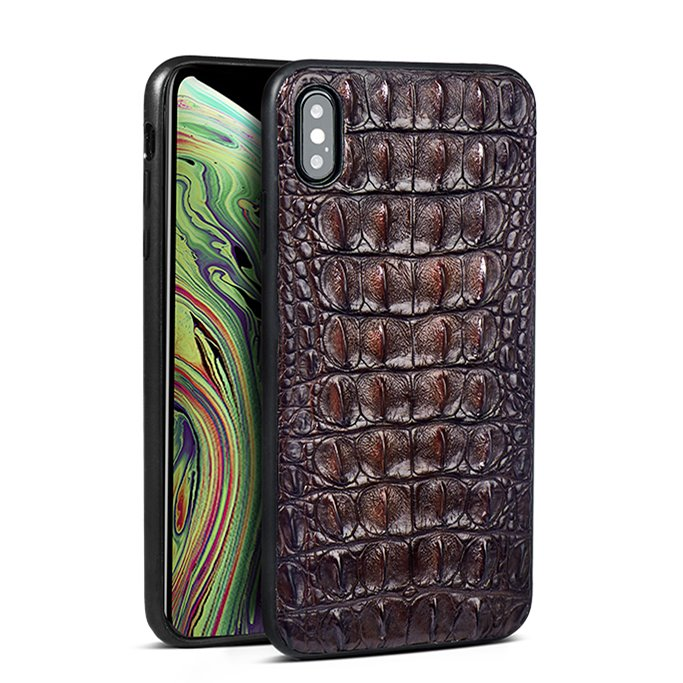Crocodile & Alligator iPhone Xs, Xs Max Cases with Full Soft TPU Edges - Brown - Back Skin