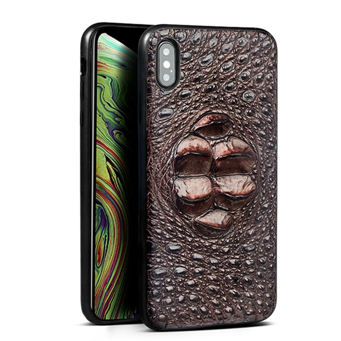 Crocodile & Alligator iPhone Xs, Xs Max Cases with Full Soft TPU Edges - Brown - Head Skin