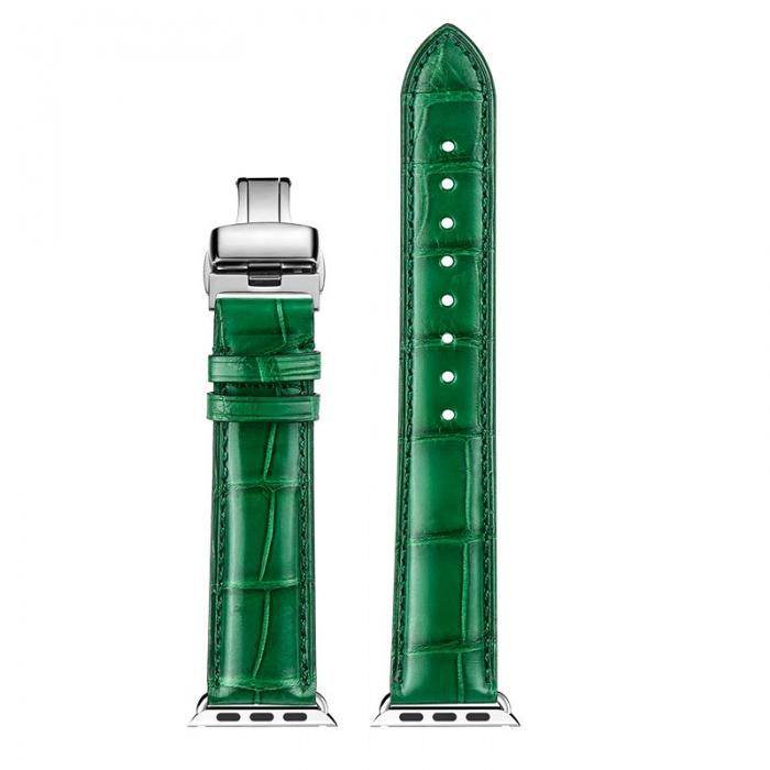 Alligator & Crocodile Apple Watch Bands 40mm, 44mm, Alligator & Crocodile Leather Bands for Apple Watch Series 5, Series 4 - Green