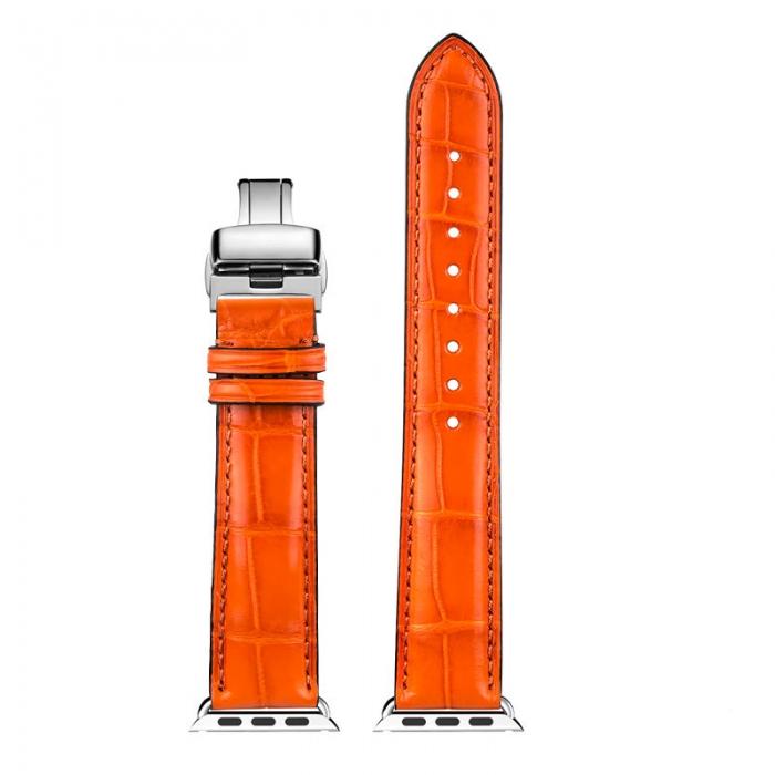 Alligator & Crocodile Apple Watch Bands 40mm, 44mm, Alligator & Crocodile Leather Bands for Apple Watch Series 5, Series 4 - Orange