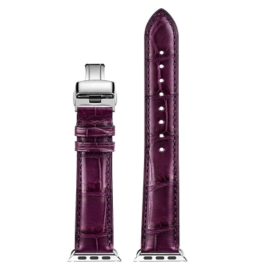 Alligator & Crocodile Apple Watch Bands 40mm, 44mm, Alligator & Crocodile Leather Bands for Apple Watch Series 4, Series 3 - Purple