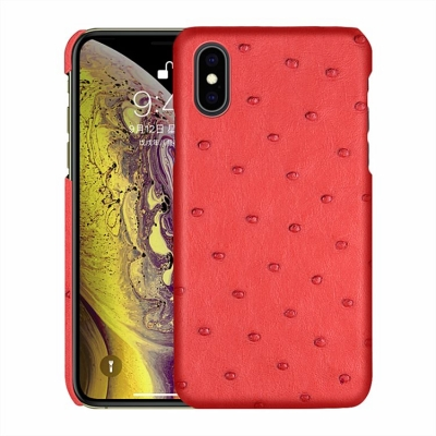 Ostrich iPhone Xs, Xs Max Cases, Ostrich Leather Cases for iPhone Xs, Xs Max - Red