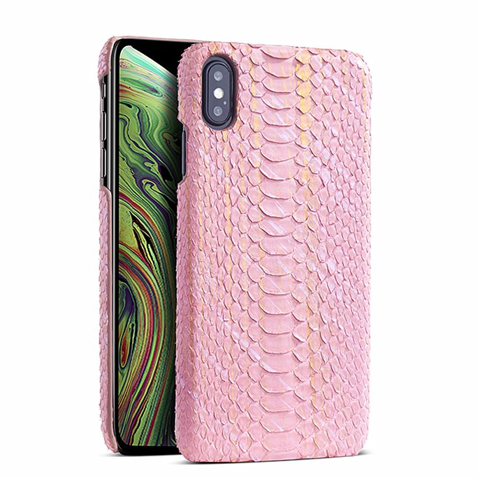Snakeskin iPhone Xs, Xs Max Cases, Python Skin Cases for iPhone Xs, Xs Max - Pink