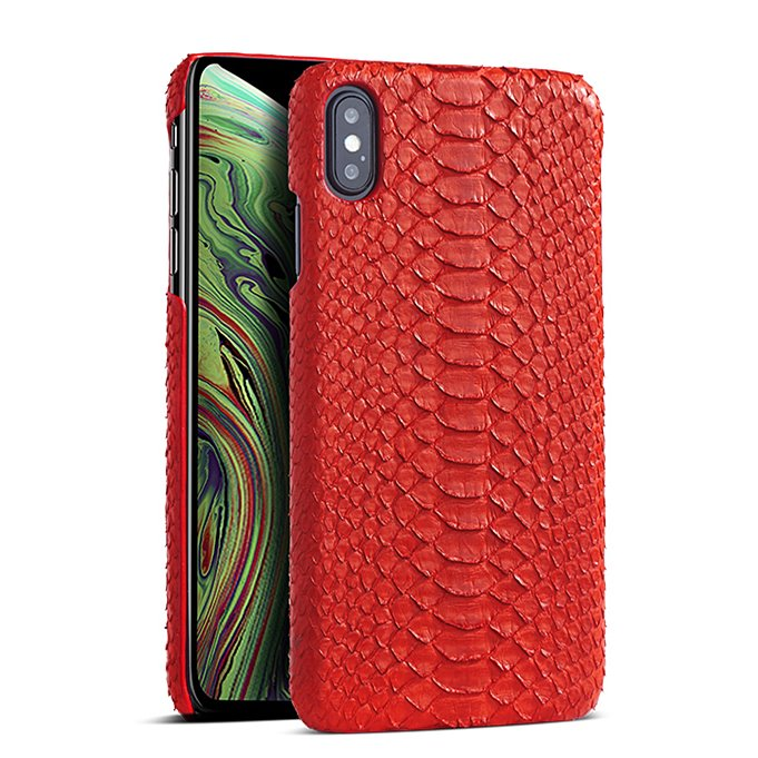 Snakeskin iPhone Xs, Xs Max Cases, Python Skin Cases for iPhone Xs, Xs Max - Red