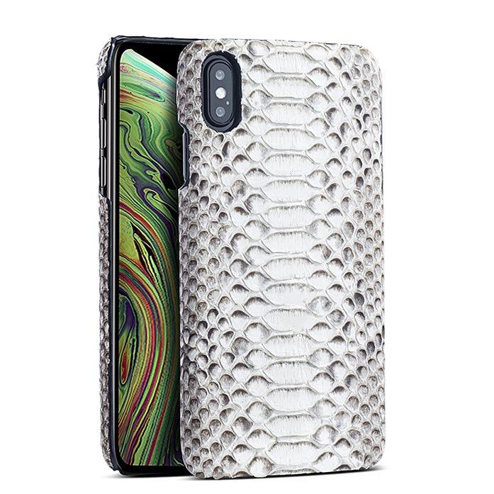 Snakeskin iPhone Xs, Xs Max Cases, Python Skin Cases for iPhone Xs, Xs Max - White