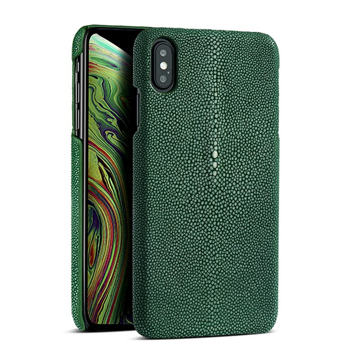 Stingray iPhone Xs, Xs Max Cases, Stingray Leather Cases for iPhone Xs, Xs Max - Green
