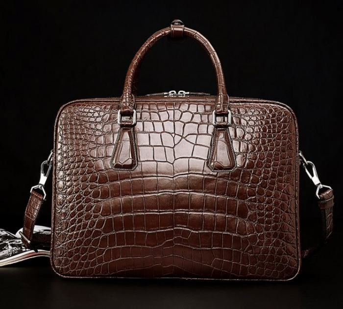 Alligator Business Bag, Alligator Leather Briefcase-Brown