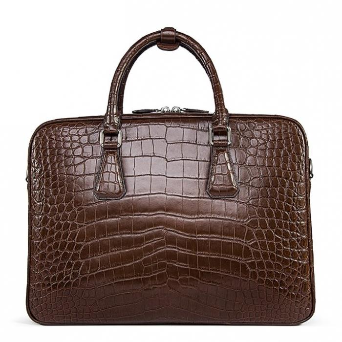 Alligator Business Bag, Alligator Leather Briefcase for Men-Back