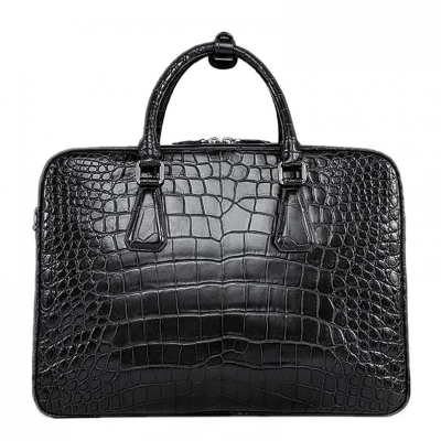 Alligator Business Bag, Alligator Leather Briefcase for Men-Black