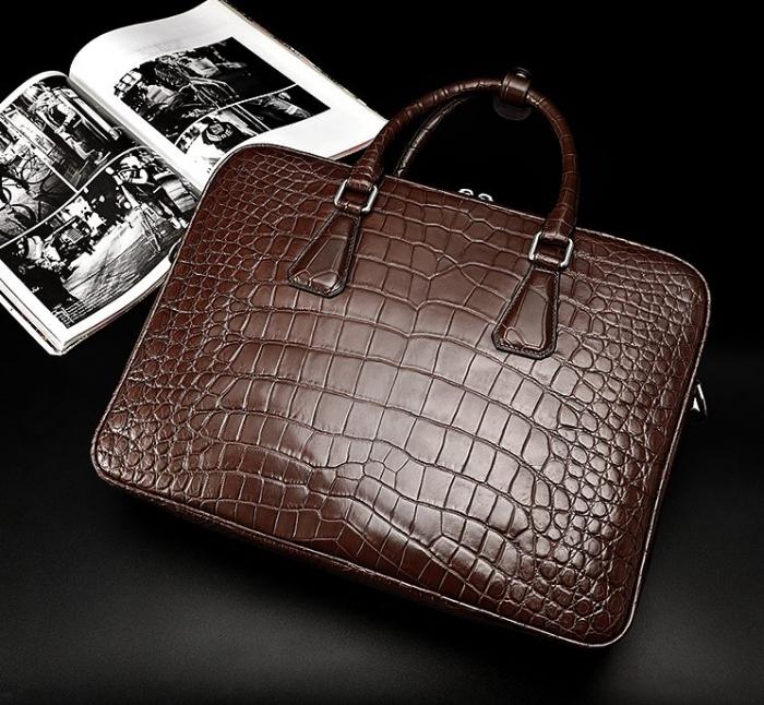 Alligator Business Bag, Alligator Leather Briefcase for Men-Brown