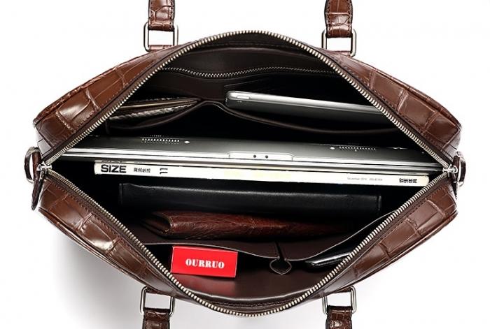 Alligator Business Bag, Alligator Leather Briefcase for Men-Inside