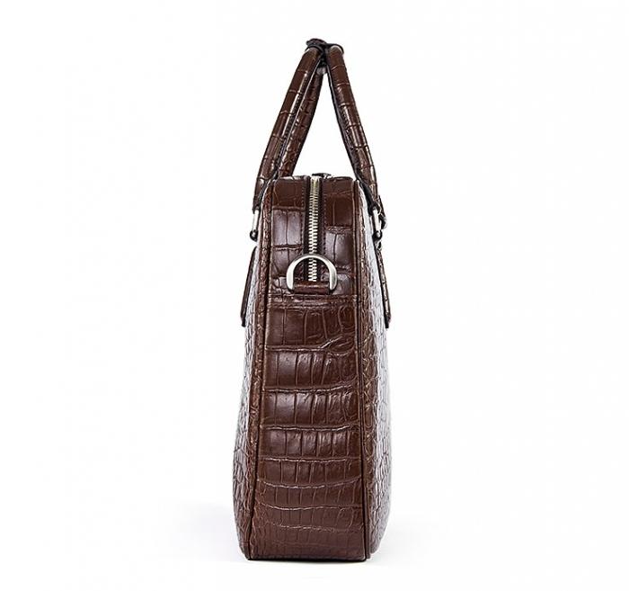 Alligator Business Bag, Alligator Leather Briefcase for Men-Side