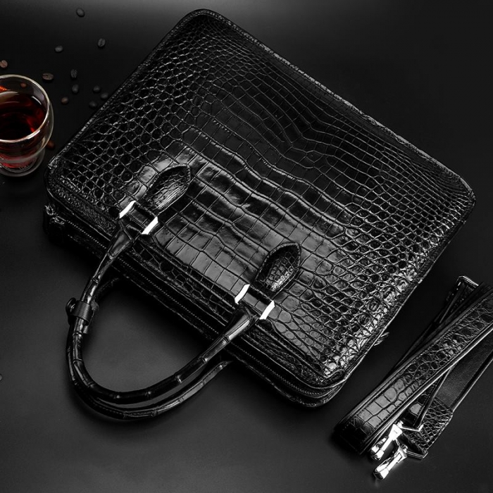Alligator Crossbody Laptop Business Bag, Alligator Briefcase for Men-Back-Display