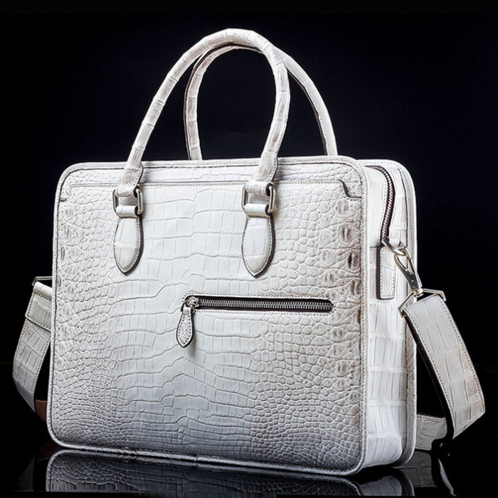 Alligator Crossbody Laptop Business Bag, Alligator Briefcase for Men-Bag-White-Front