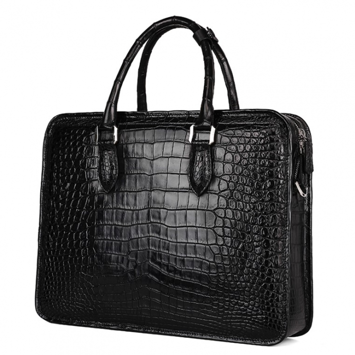 Alligator Crossbody Laptop Business Bag, Alligator Briefcase for Men-Black-Back