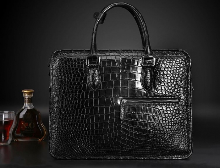 Alligator Crossbody Laptop Business Bag, Alligator Briefcase for Men-Black-Display