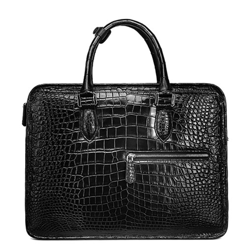 Alligator Crossbody Laptop Business Bag, Alligator Briefcase for Men-Black