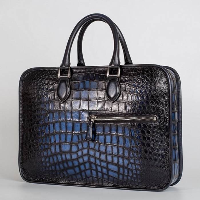 Alligator Crossbody Laptop Business Bag, Alligator Briefcase for Men-Blue-1