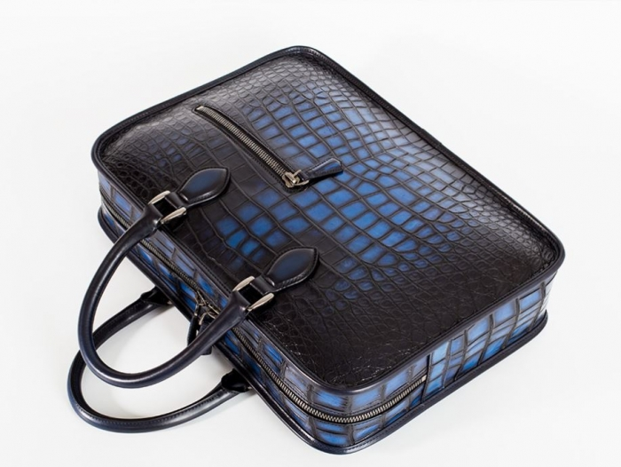 Alligator Crossbody Laptop Business Bag, Alligator Briefcase for Men-Blue-Details