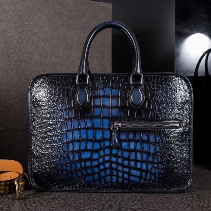 Alligator Crossbody Laptop Business Bag, Alligator Briefcase for Men-Blue-Display