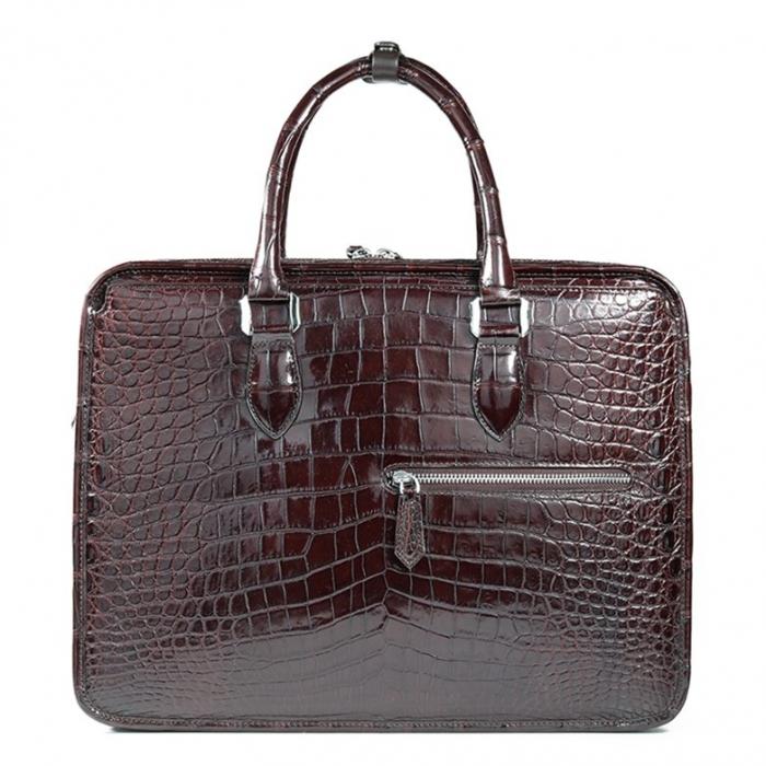 Alligator Crossbody Laptop Business Bag, Alligator Briefcase for Men-Brown