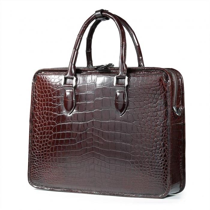 Alligator Crossbody Laptop Business Bag, Alligator Briefcase for Men-Brown-Back