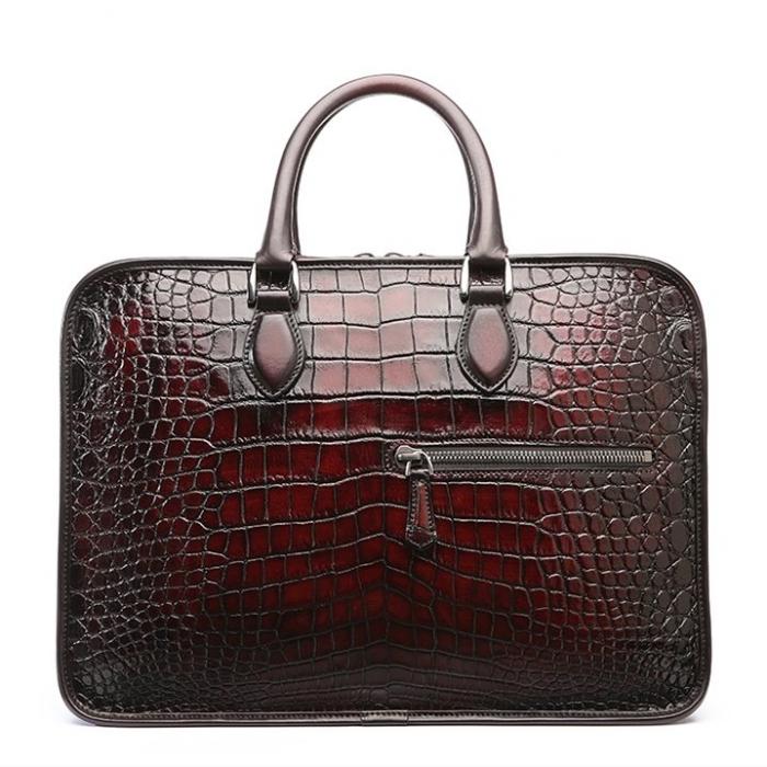 Alligator Crossbody Laptop Business Bag, Alligator Briefcase for Men-Burgundy