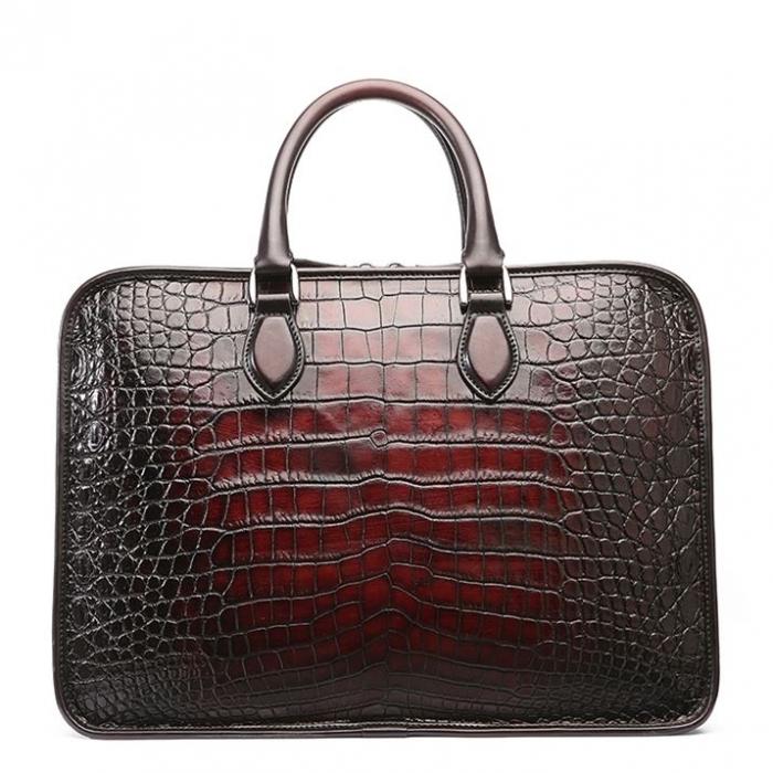 Alligator Crossbody Laptop Business Bag, Alligator Briefcase for Men-Burgundy-Back