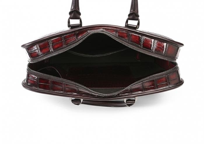 Alligator Crossbody Laptop Business Bag, Alligator Briefcase for Men-Burgundy-Inside