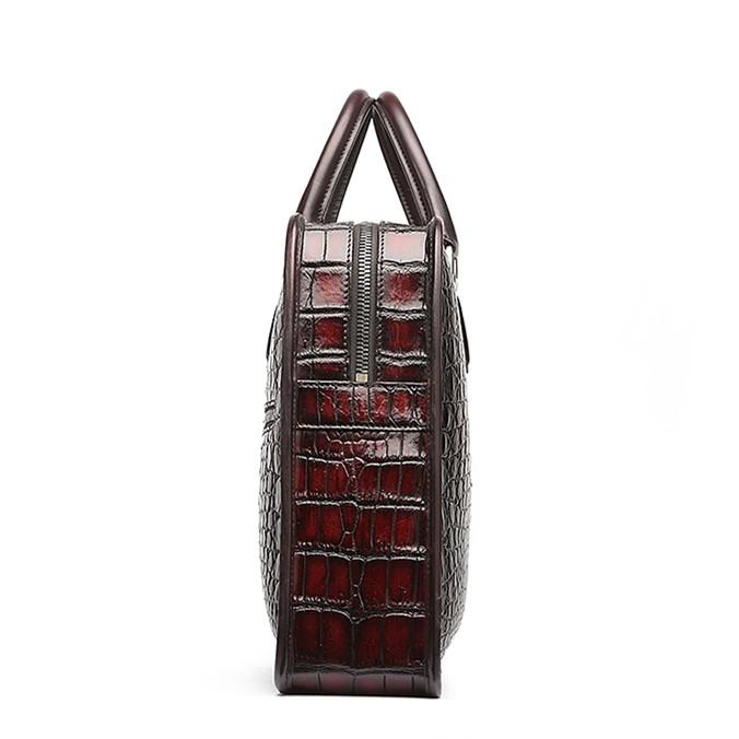 Alligator Crossbody Laptop Business Bag, Alligator Briefcase for Men-Burgundy-Side
