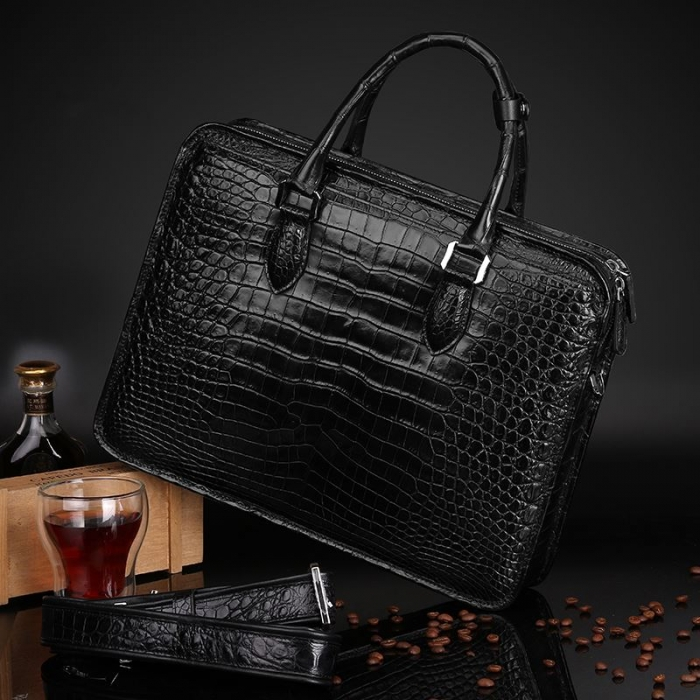 Alligator Crossbody Laptop Business Bag, Alligator Briefcase for Men-Display