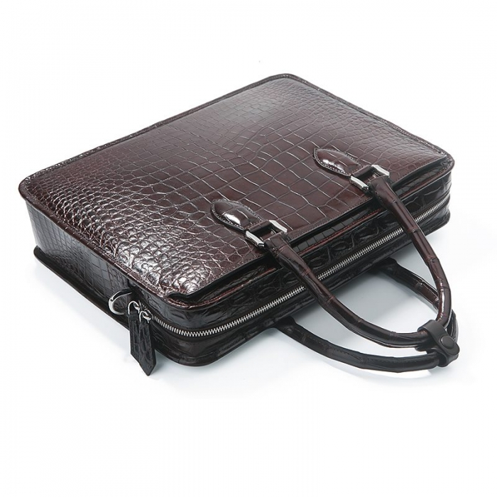 Alligator Crossbody Laptop Business Bag, Alligator Briefcase for Men-Handle